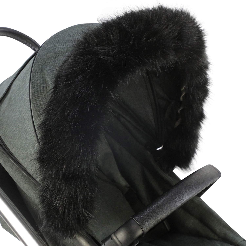 FYLO Pram 毛皮连帽装饰座椅,适用于休闲 黑色