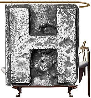 MaryMunger Custom Shower Curtain Letter H Victorian Stylized Capital H Font in Chrome Rock Tones Steel Look Retro Design Shower stall Curtain W72x72L Black Grey