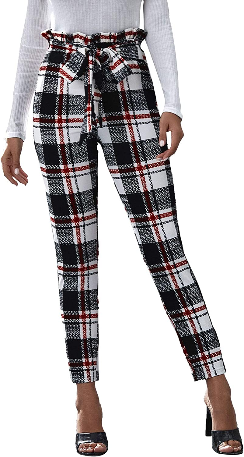 SheIn Women's Striped Paper Bag High Waist Trouser Belted Skinny Cropped Pants Black Striped X-Small