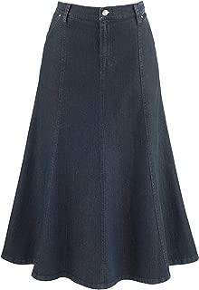 Women's 8-Gore Denim Riding Maxi Skirt - Dark Blue - 31.5