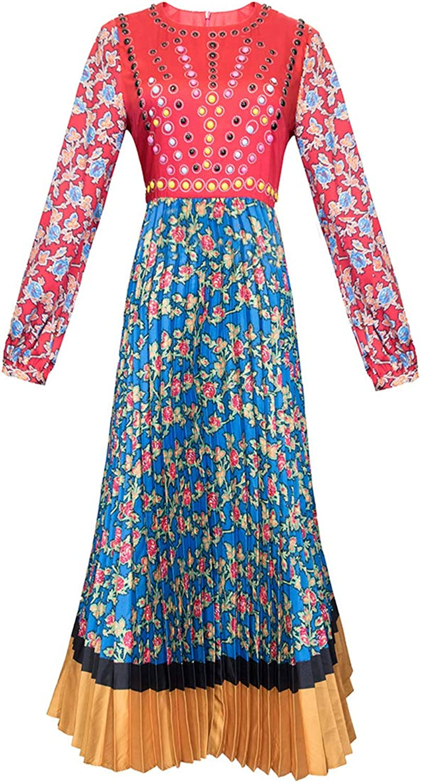 Boho Floral Print Long Sleeve Swing Pleated Maxi O Neck Party Beach Women Dress
