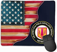 Vintage American Flag Proud US Army 41st Field Artillery Brigade Veteran Mouse Pads Pack with Non-Slip Rubber Base Mouse Pad