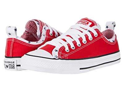 Converse Kids Chuck Taylor All Star Double Bars and Stripes Ox (Little Kid/Big Kid) (University Red/Obsidian/White) Girl