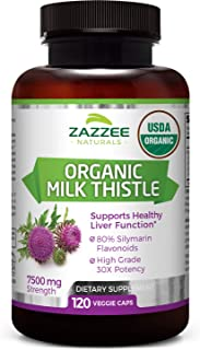 Zazzee USDA Organic Milk Thistle Extract Capsules, 120 Count, Vegan, 7500 mg Strength, 80% Silymarin Flavon...