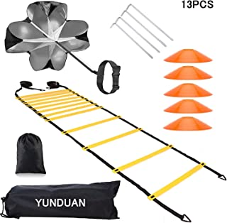 YUNDUAN Invincible Fitness Agility Ladder Training Equipment Set,Includes1 Resistance Parachute,6m 12 Sections Agility Speed Ladder,5 Cones and 4 Hooks Improves Coordination, Speed and Power