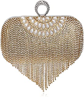 Ladies Fashion Tassel Evening Gift Bag Rhinestone Imitation Pearl Chain Shoulder Messenger Bag Bride Party Wedding Clutch Bag Lady Size: 16.5 * 4.5 * 18cm Fashion (Color : Gold)
