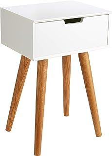 AC Design Furniture Muebles de Diseño Mesita de Noche Mariela Madera Blanco 30 x 40 x 615 cm