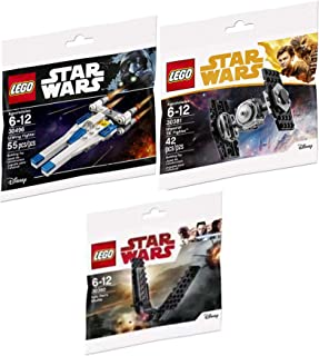 LEGO Tri-Force Galaxy Star Ships Wars Mini Ship Pack Imperial Tie Fighter Solo 30381 + U-Wing Rogue One 30496 polybag & Kylo Ren Shuttle Micro Builder 30380 Edition Buildable Bricks 3 Items