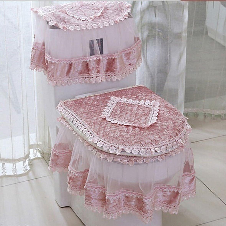 兵隊脈拍中傷(Pink) - Etbotu Toilet Seat Cover Set,Flannel Cashmere Lace Printed Home Decoration,3Pcs-Water Tank Cover+Toilet Cover Seat+Toilet Seat
