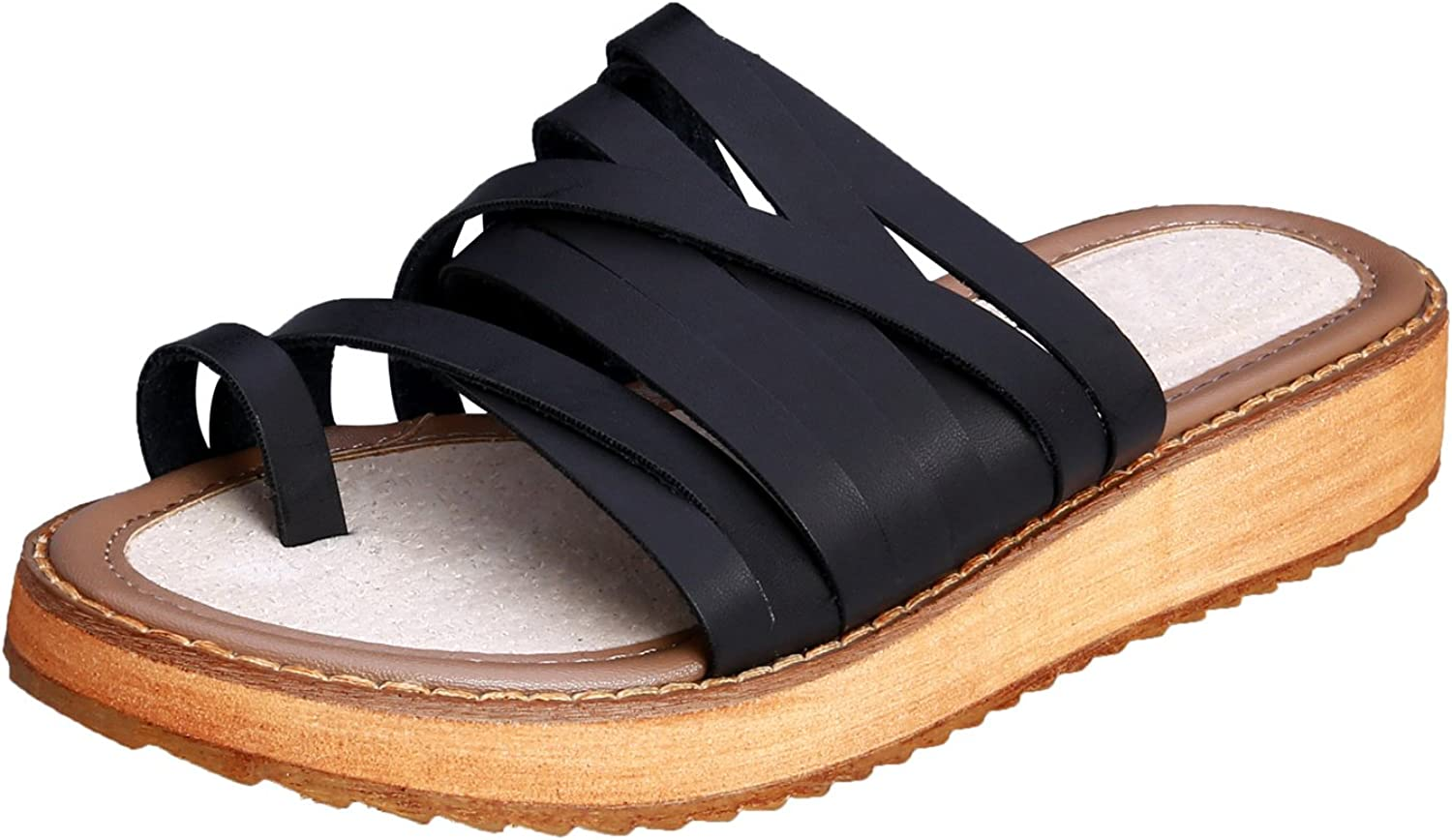 Smilun Lady's Sandal Flip Flop Thong Open Toe Double Toe Strap Strappy Gladiator Wedge Sandals