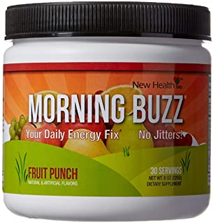 Morning Buzz Sports Energy Drink Mix by New Health, Pre Workout, Sports Nutrition Drink, Supports Lasting Energy, Endurance, Mental Clarity and Metabolism, 8 Ounce Powder Mix, 30 Servings Fruit Punch
