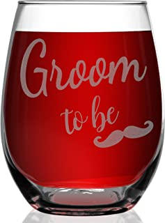 Shop4Ever Groom To Be Laser Engraved Stemless Wine Glass ~ Engagement Wedding Bachelor Gift for Him Future Groom ~ (15 oz.)