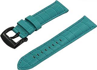 Swiss REIMAGINED Watch Band - Crocodile Grain Leather - Polished Black Buckle