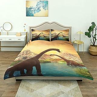 Juego de ropa de cama de 3 piezas, paisaje de fantasía en 3D con montañas representadas por dinosaurios, juego de funda nórdica con cremallera de lujo y 2 fundas de almohada El último juego de colcha