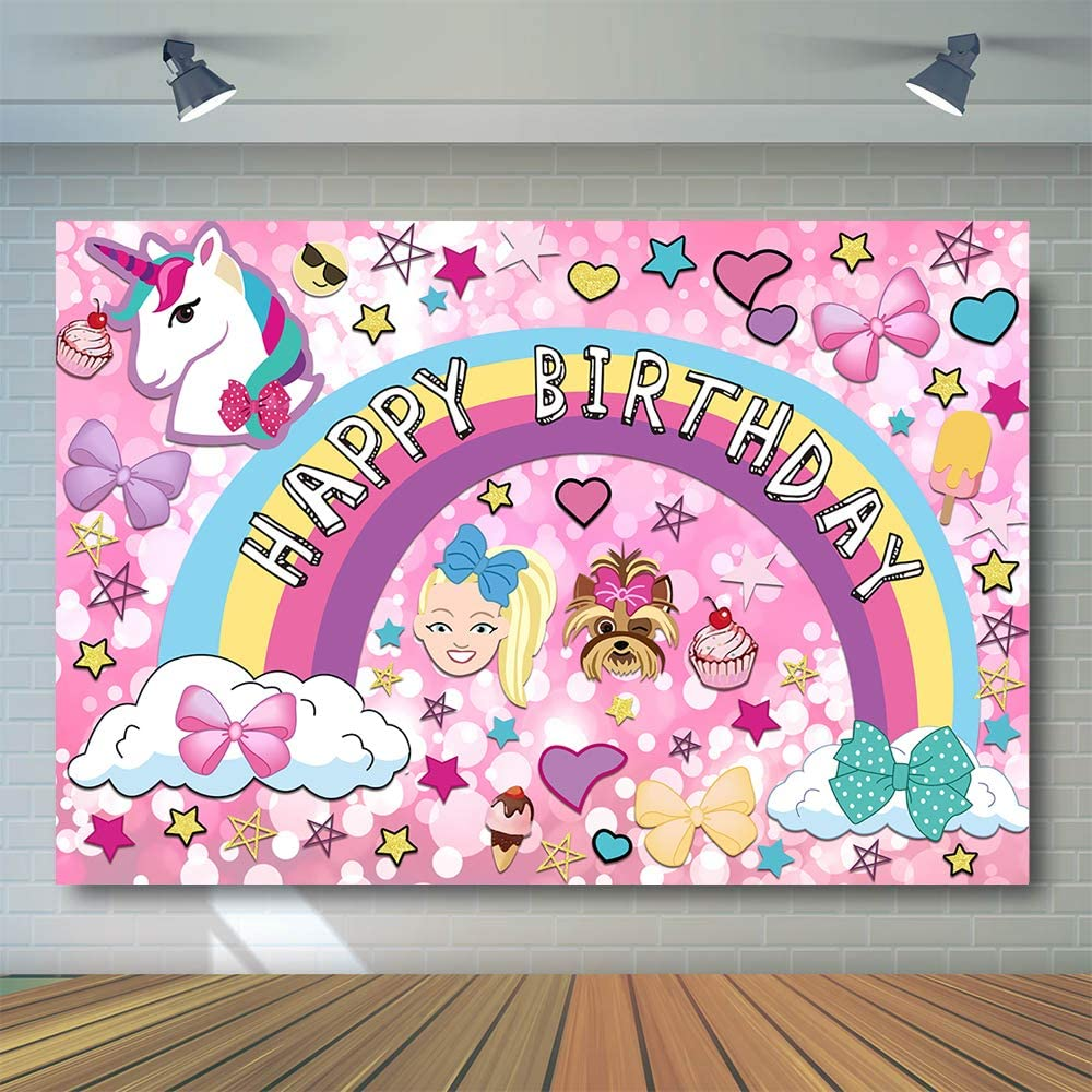 7x5ft Colorful Cartoon Dream Crazy Big Theme Photography Background Party Supplies Birthday Party Banner Unicorn Puppy Girl Glitter Rainbow Baby Shower Photo Booth Decor W-3337