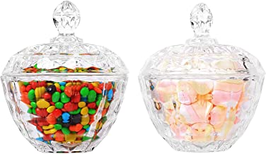 ComSaf Glass Candy Dish with Lid Decorative Candy Bowl, Crystal Covered Storage Jar, Set of 2(Diameter:4.3 Inch)