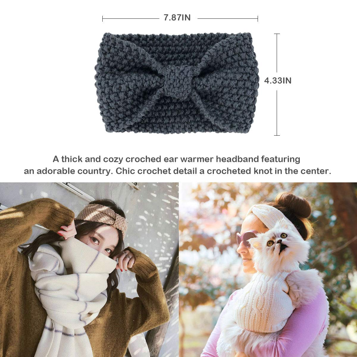 Womens Winter Knitted Headband - Soft Crochet Bow Twist Hair Band Turban Headwrap Hat Cap Ear Warmer,4Pack,Black+khaki+grey+white,One size