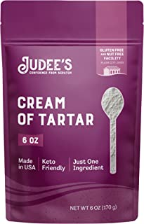 Judee's Cream of Tartar 6oz - All Natural, Keto-Friendly, Gluten-Free & Nut-Free - Use for Baking as a Stabilizer, Cleanin...