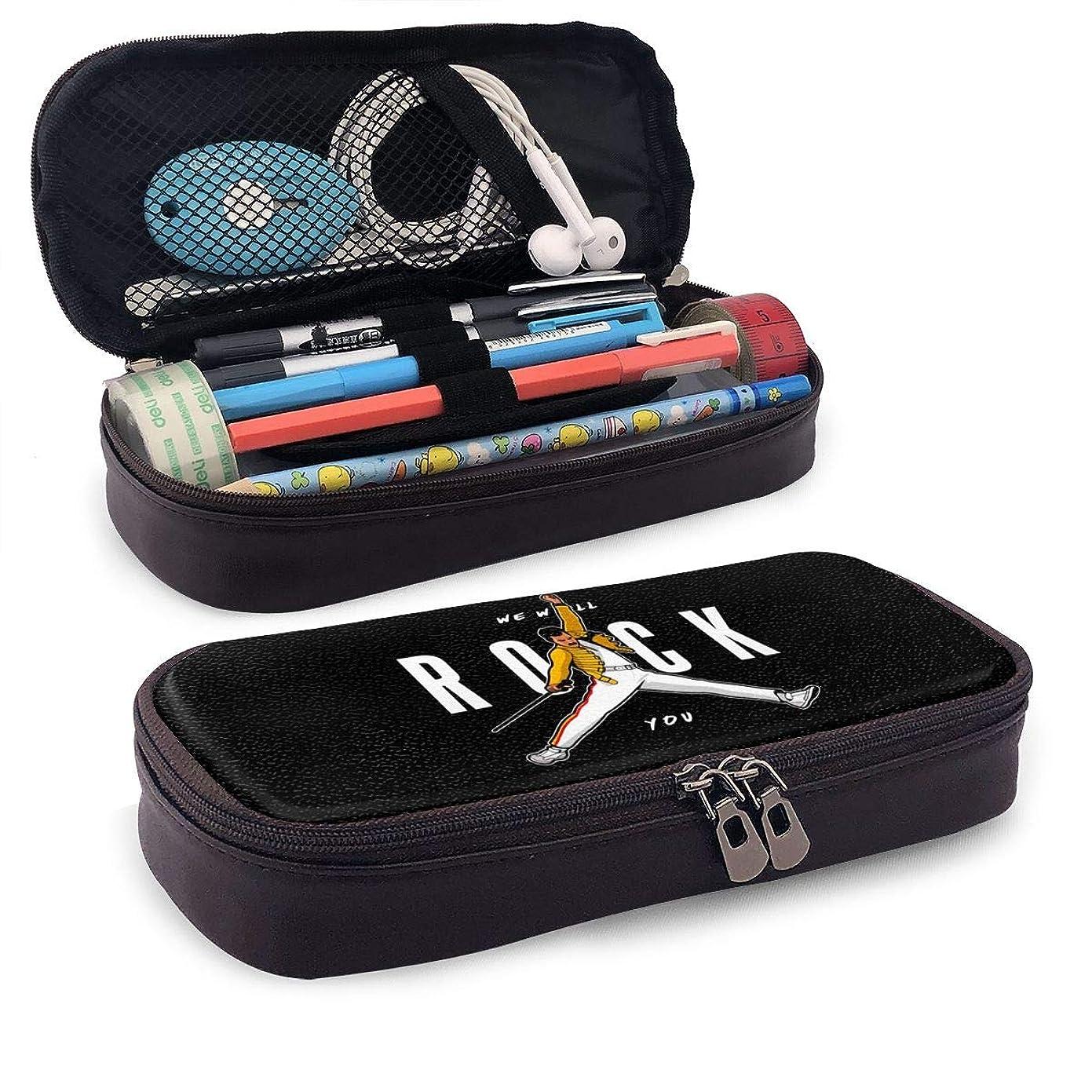 ようこそ終わり実際Queen Band 革筆箱筆箱マイクロファイバーPU防水文具大容量文房具バッグ化粧品バッグ財布ファッションギフト