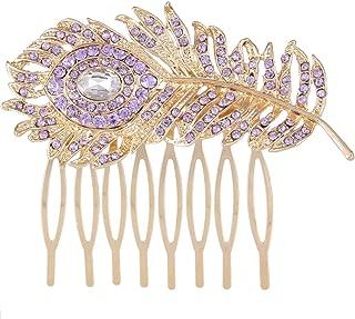 EVER FAITH Austrian Crystal Wedding Peacock Feather Bridal Hair Side Comb