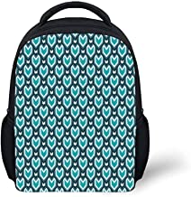 Kids School Backpack Teal,Abstract Waterfall Design Shades of Blue Geometric Art Modern Pattern,Slate Blue Pale Blue Teal Plain Bookbag Travel Daypack