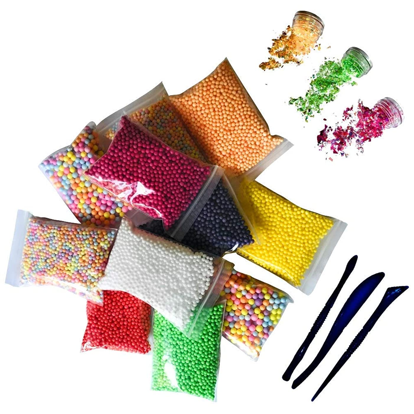Holiday Foam Beads for Slime 15 Pack Supplies Kit - Include Colorful Dark Colors Foam Balls & Sugar Papers + Slime Tools Set | Perfect for Your Kids DIY Homemade Slime Art Craft Decorations