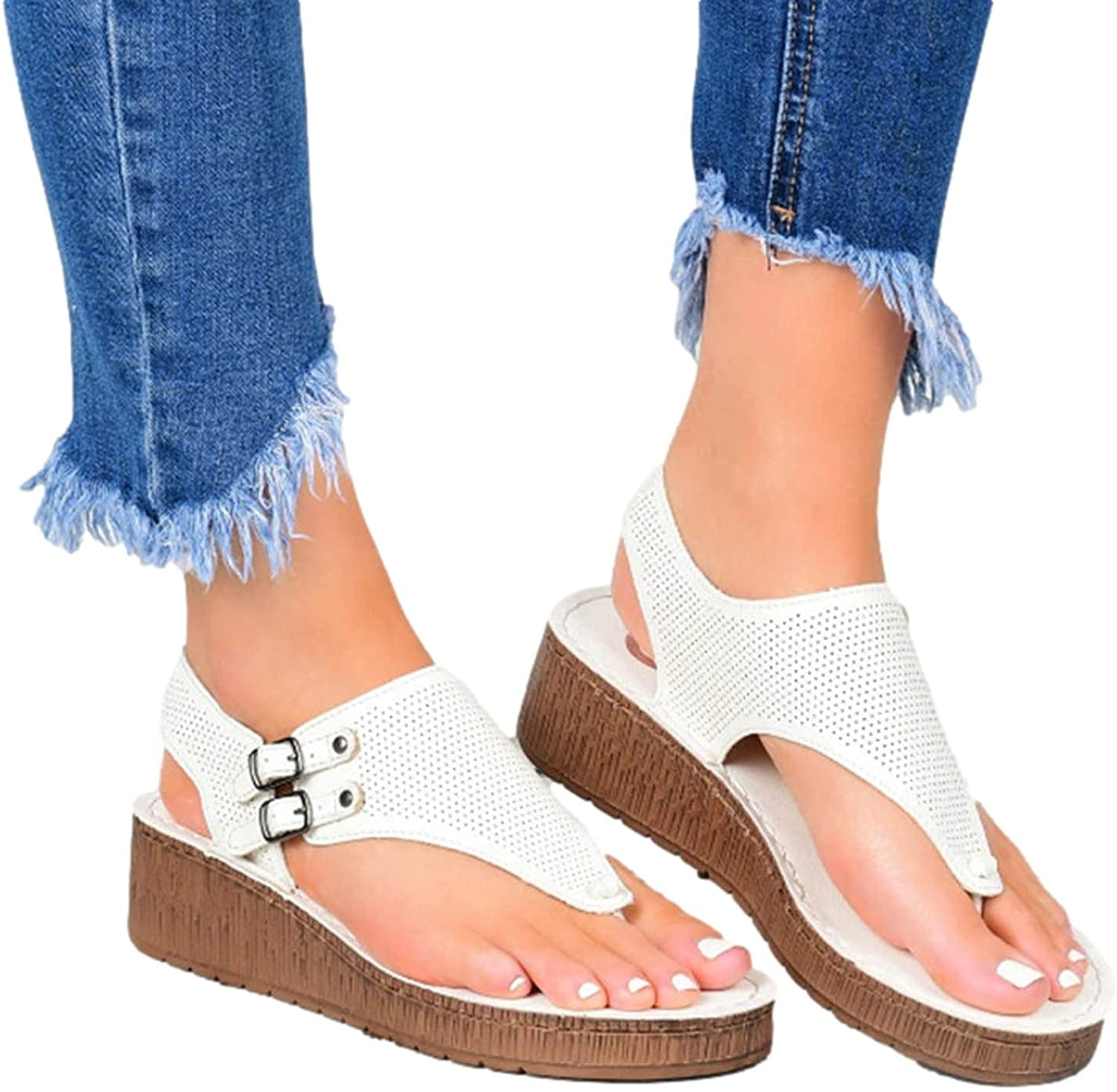 Summer Orthopedic Sandals for Womens Casual Bunion Orthopedic Slippers Correction Leather Ring Toe Flip Flops