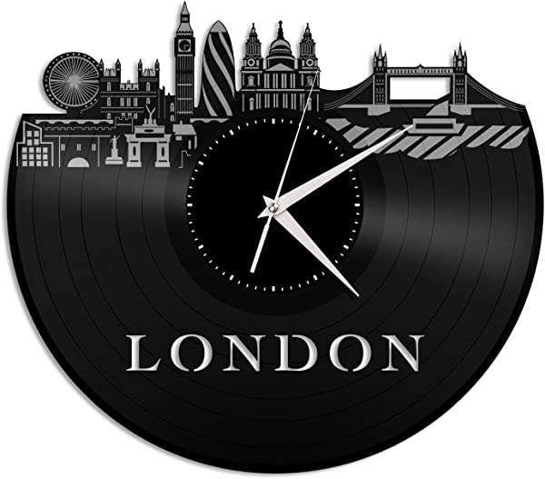 VinylShopUS London Wall Clock City Skyline Unique Gift Home And Office Room Decoration