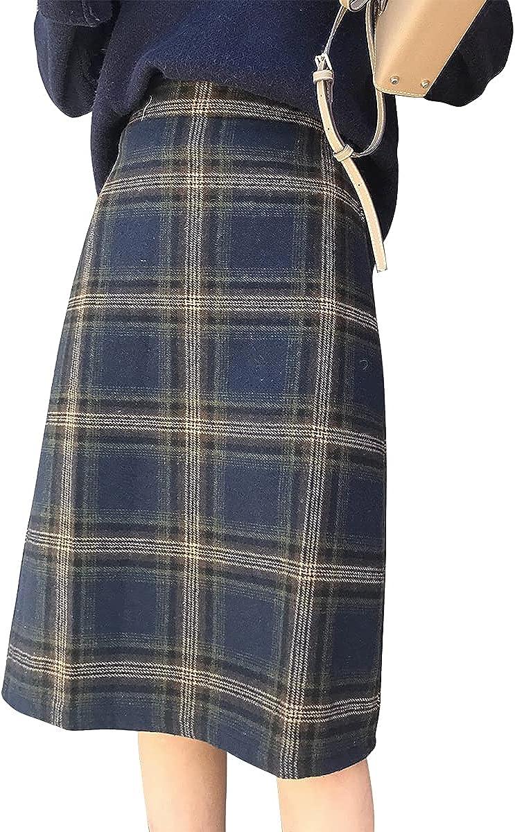 IDEALSANXUN Womens High Waist Aline Midi Plaid Wool Skirts
