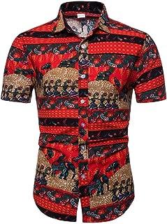 Men Summer Linen Tops Button Down Shirts Casual T-Shirt Short Sleeve Shirts
