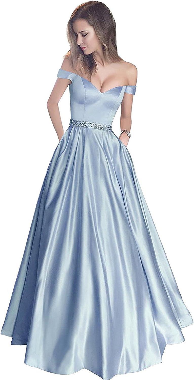 YIRENWANSHA 2018 Off Shoulder Wedding Sash Belt Party Dress with Pocket Formal Robe RYPMS83