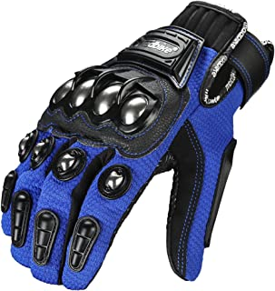 ILM Alloy Steel Bicycle Motorcycle Motorbike Powersports Racing Gloves Touchscreen (L, BLUE)