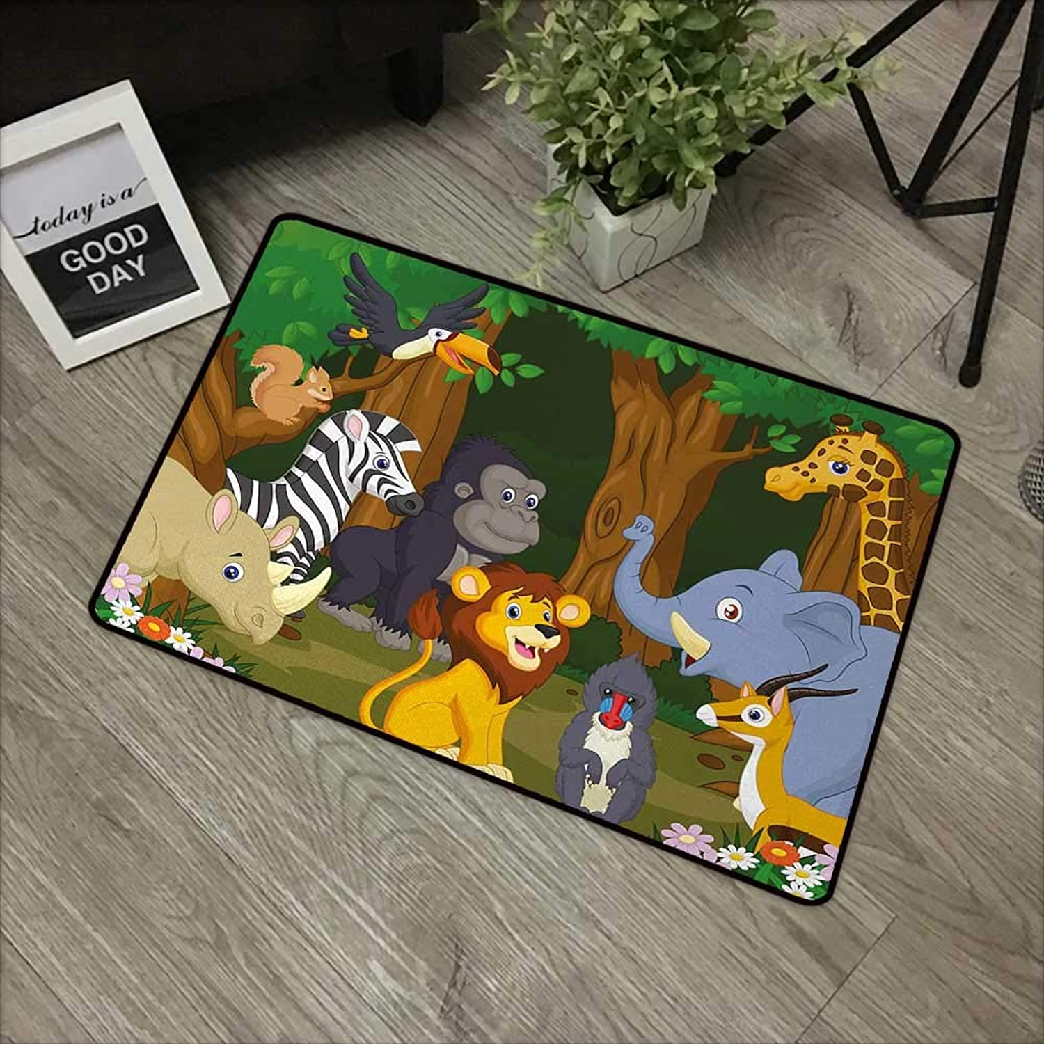 Bathroom mat W35 x L59 INCH Animal,Cartoon Style Elephant Gazelle Giraffe Gorilla Lion Animals Illustration,Brown and Fern Green with Non-Slip Backing Door Mat Carpet