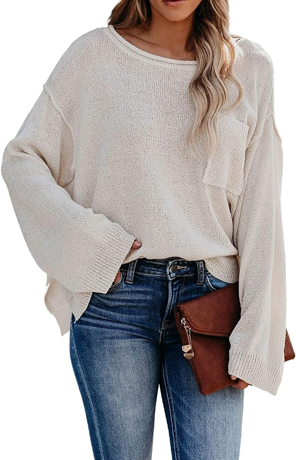 Women's Off Shoulder High Low Oversized Pullover Sweater Casual Bell Sleeve Boat Neck Split Knitted Jumper Tops