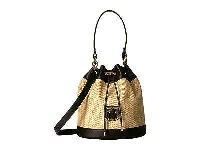 Furla Corona Small Drawstring Bucket Bag (Beige/Onyx) Handbags