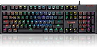 لوحة مفاتيح ريدراجون K592-PRO ميكانيكية للألعاب RGB السلكة مع مفاتيح زرقاء ضوئية V-سريعة للغاية، لمس ودقيق للغاية، 104 مفت...