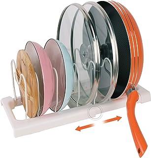 Porte-casseroles Support en Acier de haute qualité & Plastique rangement cuisine avec 7 Compartiments Réglables Parfaite p...