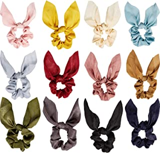 12 Pieces Hair Scrunchies Satin Silk Rabbit Bunny Ear Bow Bowknot Scrunchies Bobbles Elastic Hair Ties Ropes Ponytail Holder Accessories for Women Girls