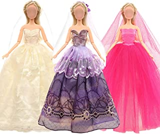 Barwa 3 Wedding Dresses + Veil for 11.5 Inch 28 -30 cm Dolls (White + Pink + Brown)
