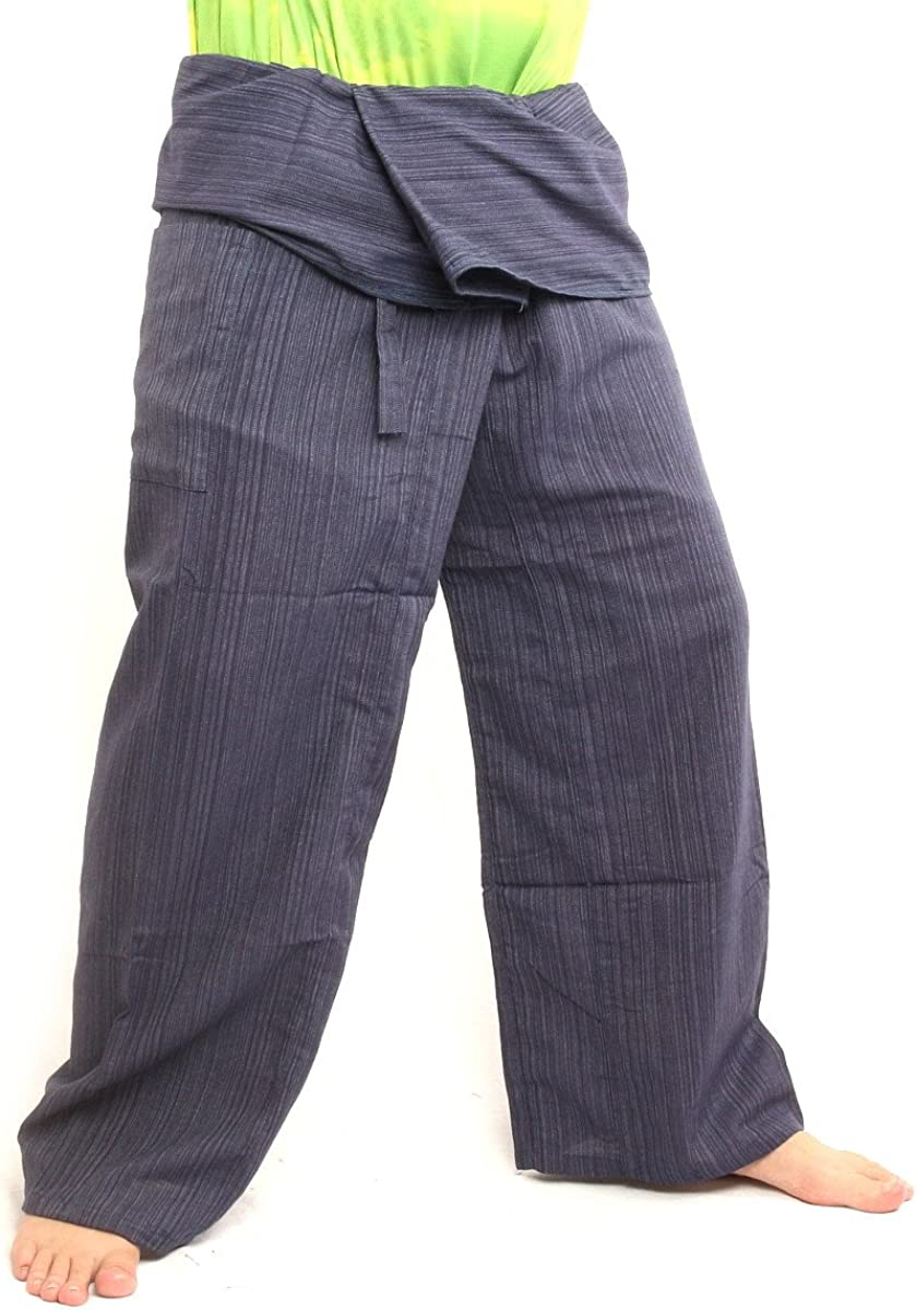 jing shop Thai Fisherman Pants Solid Color Cotton Mix One Size Extra Long