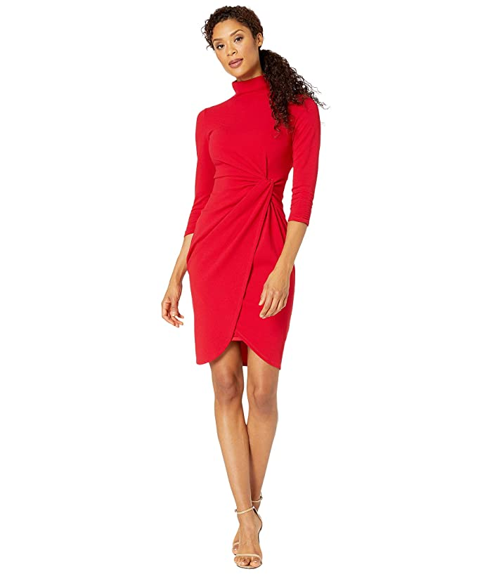 Tahari by ASL  Stretch Crepe Mock Neck Dress with Side Wrap and Cinched Sleeve Detail (Ruby) Womens Clothing