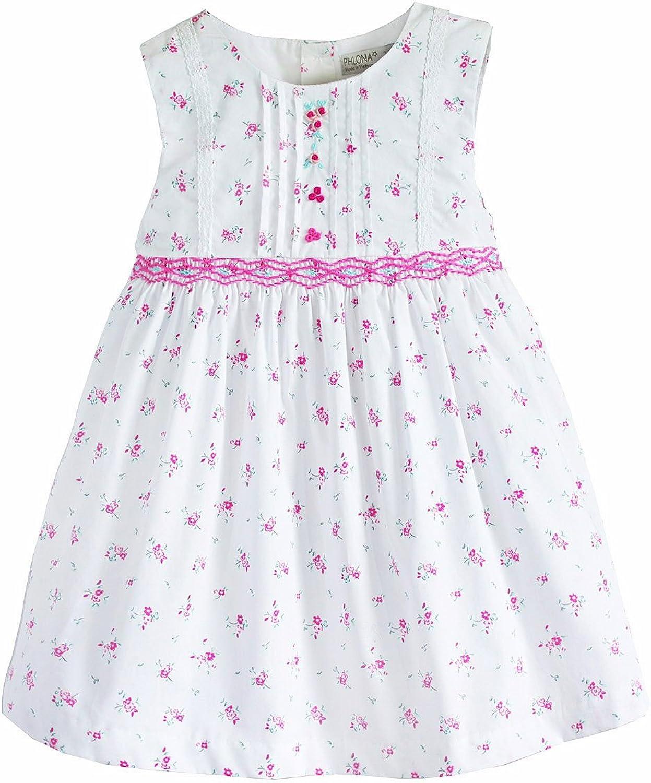 Little Girl's Smocked Dress in White & Pink Floral Tie-Back Sleeveless