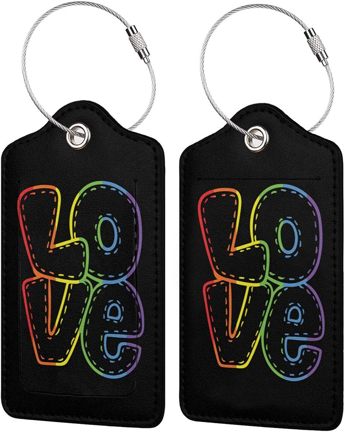 Love Rainbow Heart Gay LGBT Pride Luggage PU Leather Travel tag Gifts Sales