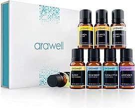 Essential Oils Set - Arawell 100% Pure Therapeutic Grade Aromatherapy Oils Gift Kit for Diffuser (8 x 10ml) Lavender, Eucalyptus, Rosemary, Orange, Tea Tree, Peppermint, Lemon, Clove