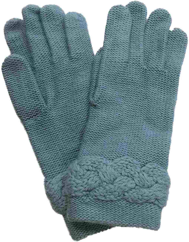 Womens Blue Rope Knit Gloves Aqua