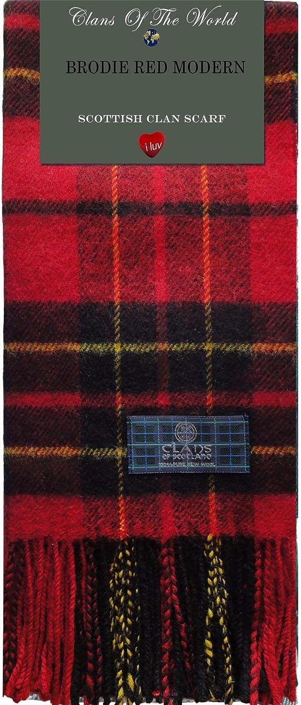 Brodie Red Modern Tartan Clan Scarf 100% Soft Lambswool