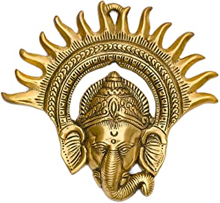 CraftVatika Metal Golden Ganesha Wall Hanging Sculpture Lord Ganesh Idol Ganpati Lucky Feng Shui Wall Decor Arts