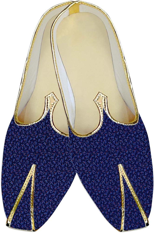 INMONARCH Mens Royal bluee Wedding shoes Flower Printed MJ015269