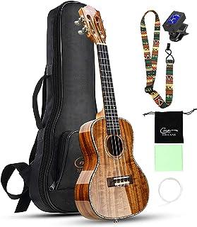 Hricane Professional Concert Ukulele 23 Inch Koa Solid Acacia Ukelele Kit Glossy Finished with Bag, Digital Tuner, Strap, ...