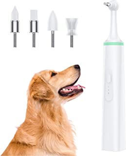 mothermed Dog Tartar Cleaner Electric Professional Teeth Polisher Pet Calculus Plaque Stains Teeth Cleaner with 4 Brush He...